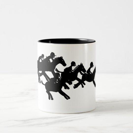 horses racing Two-Tone coffee mug