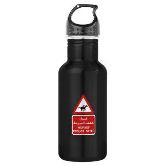 Horses Reduce Speed, Traffic Sign, UAE Stainless Steel Water Bottle