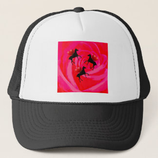 Horses ride on a red rose trucker hat