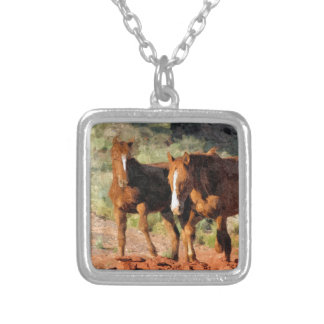 Horses roaming in Monument Valley, UT Square Pendant Necklace