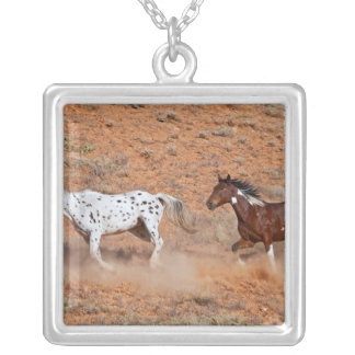 Horses roaming the Big Horn MT of Shell Wyoming. 2 Square Pendant Necklace