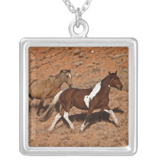 Horses roaming the Big Horn MT of Shell Wyoming. Square Pendant Necklace