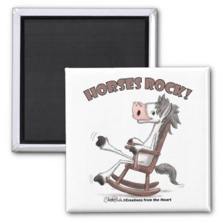 Horses Rock! 2 Inch Square Magnet