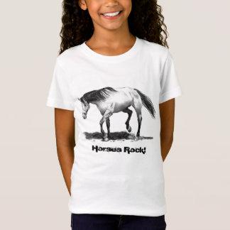HORSES ROCK, PENCIL ART, GIRL'S SHIRT