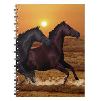 Horses running at ocean sunset notebook