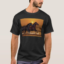 Horses running at ocean sunset T-Shirt