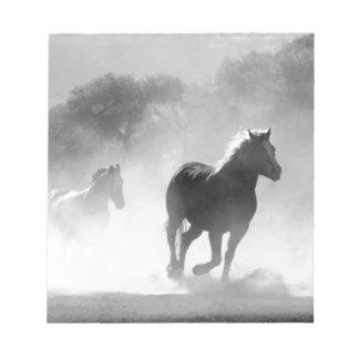 Horses running black and white beautiful scenery note pad