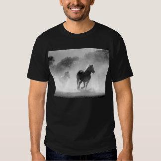 Horses running black and white beautiful scenery shirt