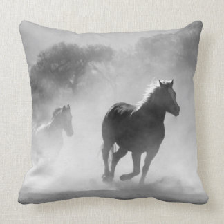 Horses running black and white beautiful scenery throw pillow
