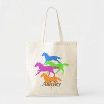 Horses  running  colorful tote bag
