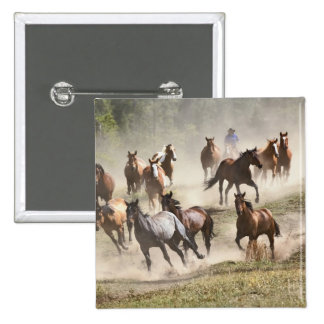 Horses running during roundup, Montana 2 Inch Square Button