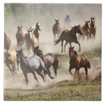 Horses running during roundup, Montana Large Square Tile