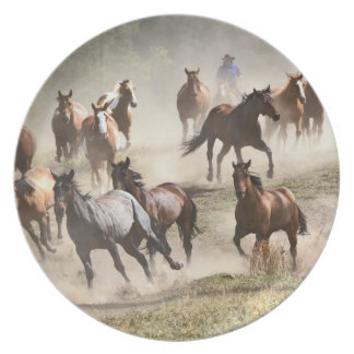 Horses running during roundup, Montana Party Plates