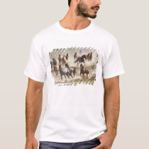 Horses running during roundup, Montana T-Shirt