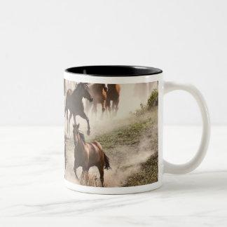 Horses running during roundup, Montana Two-Tone Coffee Mug