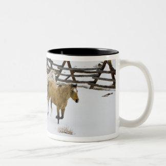 Horses Running in Snow Two-Tone Coffee Mug