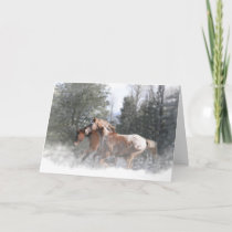 Horses Running in the Snow Christmas Card
