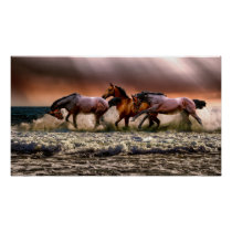 Horses Running in the Surf Poster