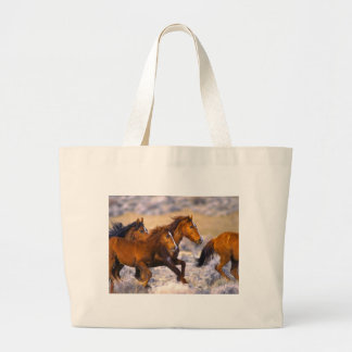 Horses running large tote bag