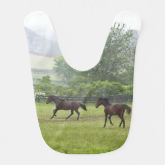 Horses running misty morning Baby Bib
