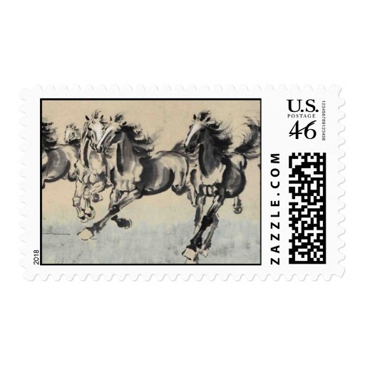 Horses running postage stamps