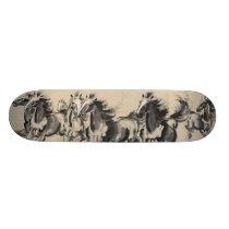Horses running skateboard