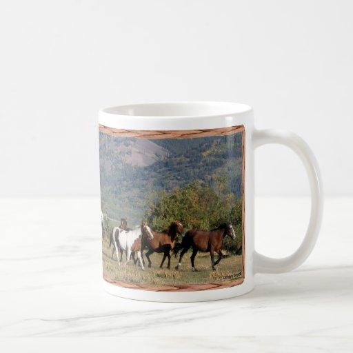 Horses Running the Rockies Classic White Coffee Mug