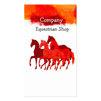 Horses Running Watercolor Horseback Artistic Color Business Card