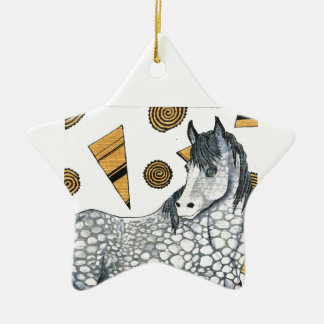 Horses: Shimmering silver dapples, swirling shapes Ceramic Star Decoration