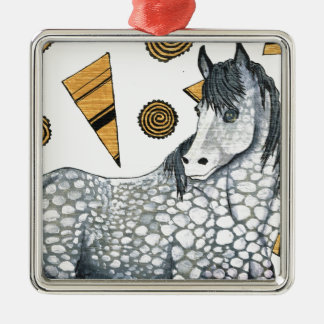 Horses: Shimmering silver dapples, swirling shapes Silver-Colored Square Decoration