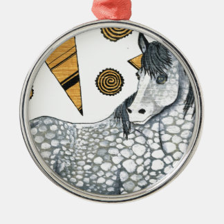 Horses: Shimmering silver dapples, swirling shapes Silver-Colored Round Decoration