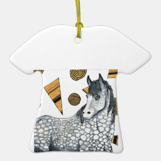 Horses: Shimmering silver dapples, swirling shapes Ceramic T-Shirt Decoration
