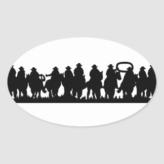 Horses Silhouette Oval Sticker