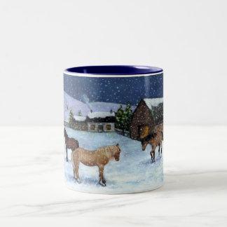 HORSES, SNOW: PASTEL ART: CHRISTMAS: MUG