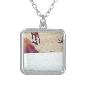 Horses Square Pendant Necklace