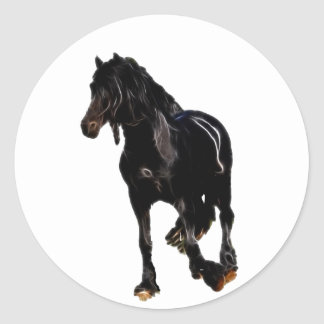 Horses sudden turn classic round sticker
