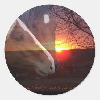 Horses Sunrise Classic Round Sticker