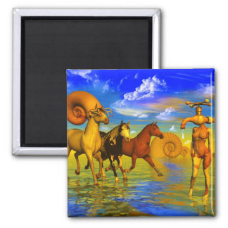 HORSES surreal art paintings Refrigerator Magnets
