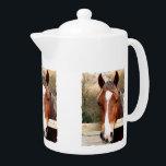 "HORSES TEAPOT<br><div class=""desc"">A photographic design of a beautiful chestnut horse.</div>"