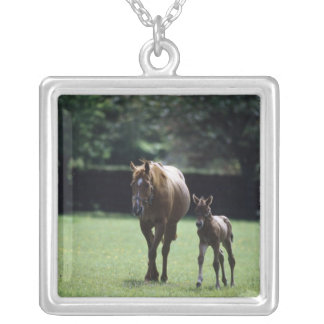 Horses - Thoroughbred, Mare And Foal, Silver Plated Necklace