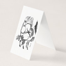 Horses under a willow tree. business card