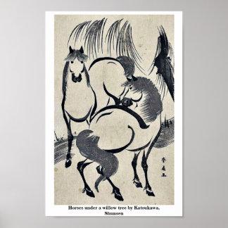 Horses under a willow tree by Katsukawa, Shunsen Posters