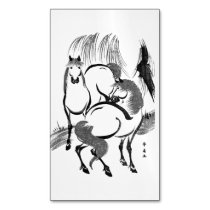 Horses under a willow tree. magnetic business card