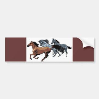 horses vectors running wild brown grey black car bumper sticker