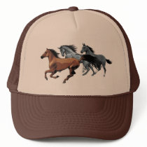 horses vectors running wild brown grey black trucker hat