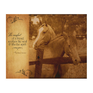 Horses Vintage Photo Friendship Sentiment Wood Wall Art
