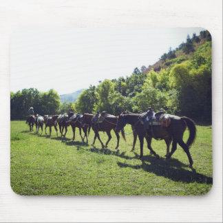 Horses walking in a line mousepad