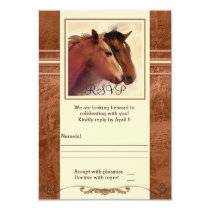 Horses Watercolor Painting Wedding RSVP Card