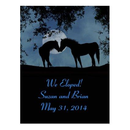 Horses, We Eloped Announcement Postcards!