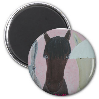 Horses Whispering 2 Inch Round Magnet